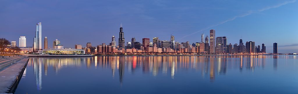 CHICAGO, IL - Skyline at sunrise. (Image credit: Daniel Schwen / Wikimedia Commons)
