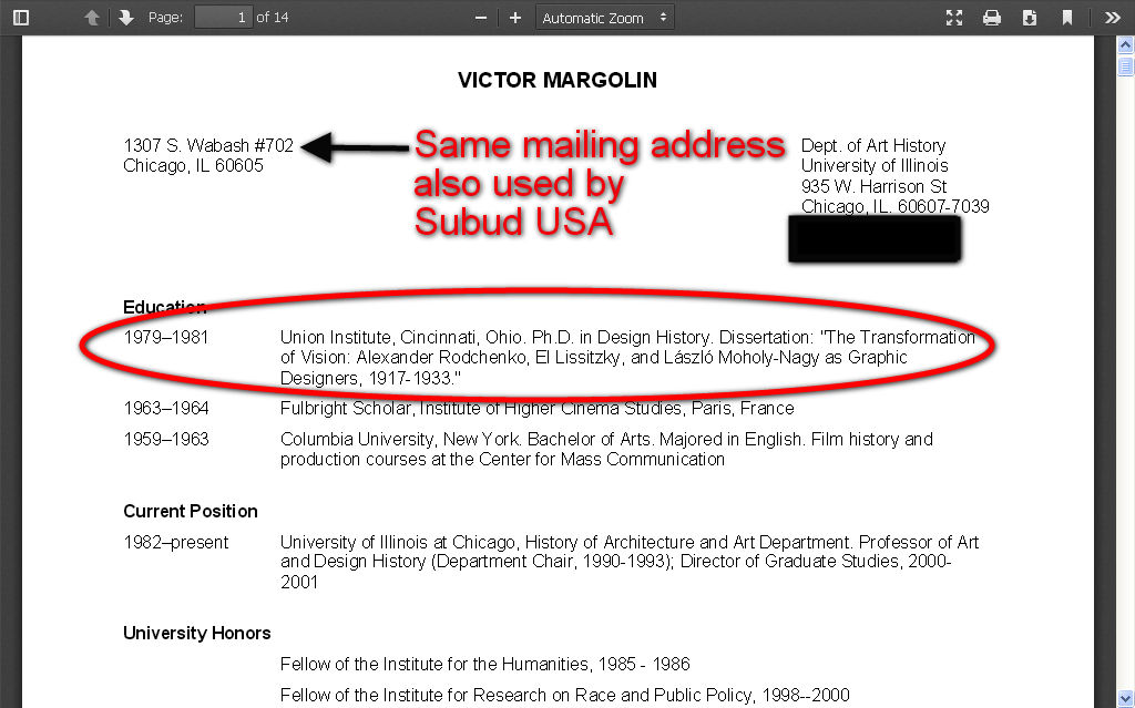 Dr. Victor Margolin's résumé. (Source: The University of Illinois at Chicago official website).
