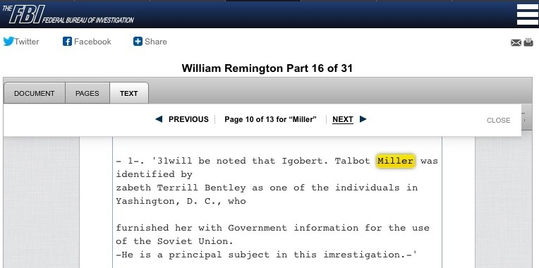 Robert Talbot Miller III was identified as a Soviet spy by Elizabeth Bentley, a Soviet spy who became an FBI informant. (Source: FBI's William Remington File)