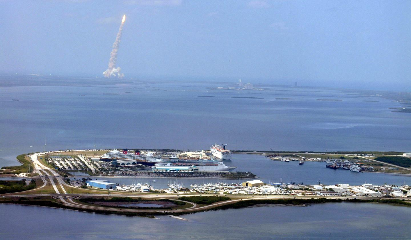 PORT CANAVERAL, FL - A rocket launches into space from Cape Canaveral Air Force Station north of the port.