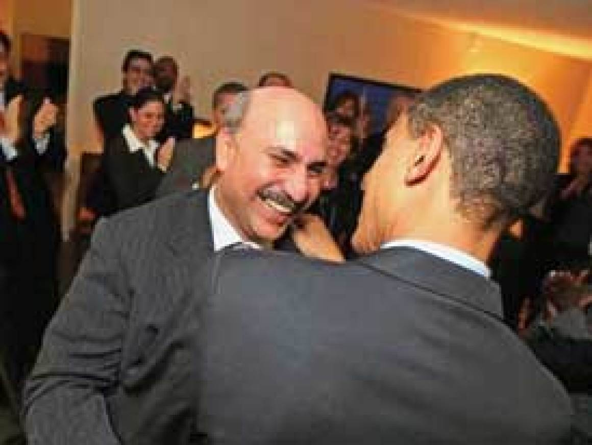 "Senator Barack Obama with Antoin ""Tony"" Rezko. Obama and Rezko are both associates of Iraqi billionaire Nadhmi Auchi. Nadhmi Auchi was sued for providing the chemical weapons used by Saddam Hussein's regime during the 1988 Halabja Massacre in Iraqi Kurdistan."