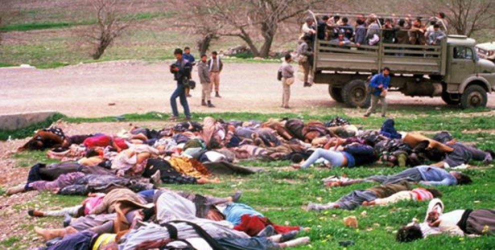 1988 Halabja Massacre Saddam Hussein regime used chemical weapons to kill over 5,000 Kurdish civilians and would an addition 10,000. Barack Obama's patron Iraqi billionaire Nadhmi Auchi was sued for providing chemical weapons used in the Halabja genocide.