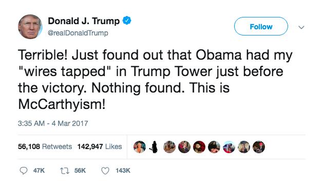 Donald Trump Twitter President Obama Wiretap