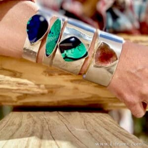 Liframy Collection - Fall Colors Hand Forged Gemstone cuffs