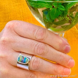 """Liframy Portfolio Earths Treasures Amy Liframy Whitten – Grateful Opal Band Ring Hand forged by Amy Whitten in the USA  300x300 - Liframy Portfolio - Earths Treasures Amy """"Liframy"""" Whitten – Grateful Opal Band Ring Hand forged by Amy Whitten in the USA"""
