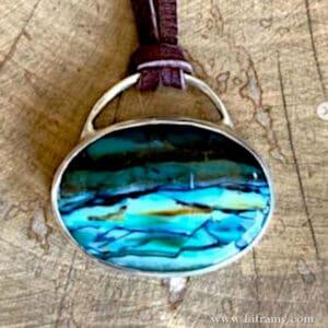 Liframy - Ocean Waves Indonesian Blue Petrified Wood Stone Boho Silver Pendant