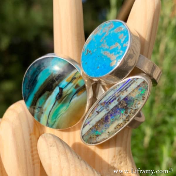 Amy's Collection of Handcrafted Boho Peace Opal and Turquoise Statement Rings