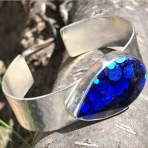 High Energy Azurite Malachite silver Cuff hand forged by Amy Whitten