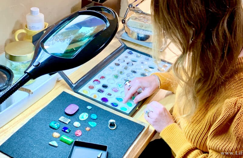 """Amy """"Liframy"""" Whitten selects stones that speak from earth's treasures for Liframy Boho Statement Jewelry"""