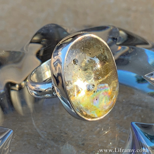 Liframy - Quartz with Pyrite Crystal Rainbow Ring - North Americas Unique boho style statement rings hand forged statement jewelry crafted by Amy Whitten in the Rocky Mountains of Colorado