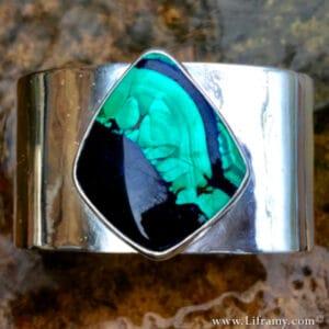 Azurite Malachite stone Cuff by Liframy hand forged By Amy Whitten