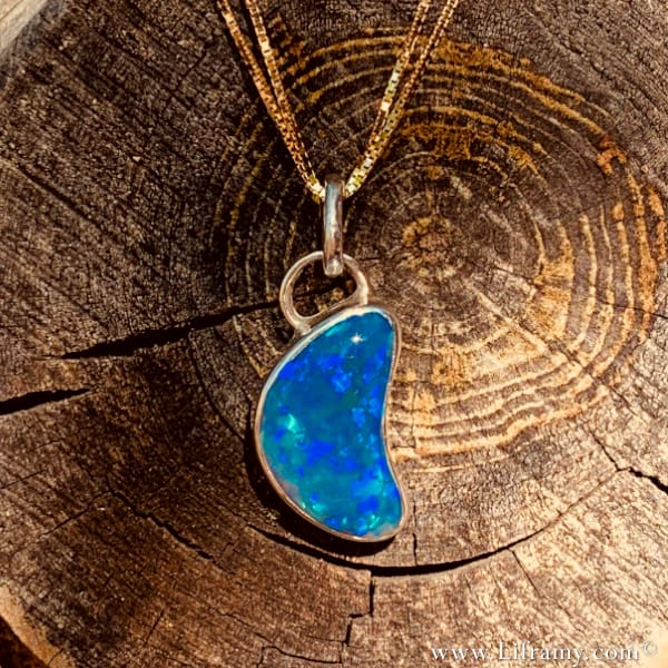 Hand forged Dreamy Black Opal color changes Statement pendant