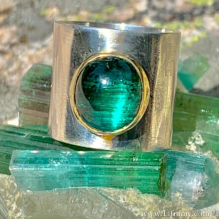 Shop Liframy – Cat's Eye Tourmaline Stone Band Ring Size 7.75