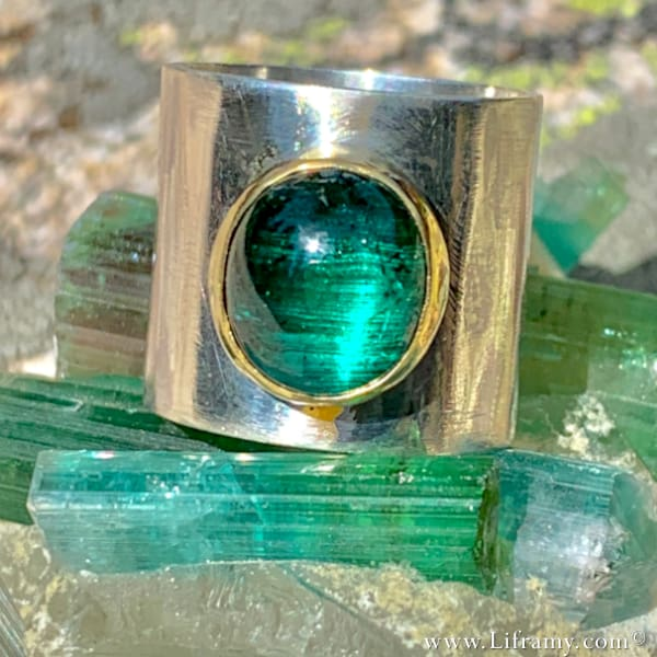 Exquisitely Crafted Cats-eye Tourmaline Cigar Band Ring by Liframy Hand-forged by Amy Whitten