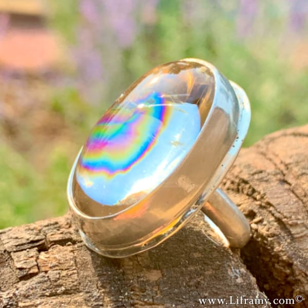 Stunning bohostyle Opalescent Crystal Jewelry ring
