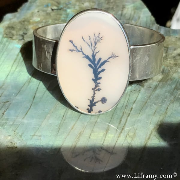 Reflections in Time Dendritic Agate Cuff by Amy Whitten