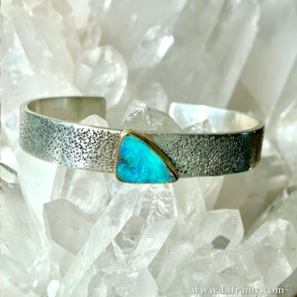 Shop Liframy – Sexy Beach Vibes Opal Band Statment jewlery handmade one of a kind Jewelry Hand forged by Amy Whitten in The USA 1 - Shop Liframy – Boulder Opal Beach Vibe Cuff