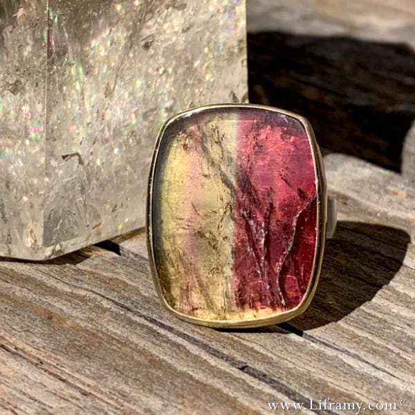 Liframy –Seasons of Change Tourmaline gold and sterling silver Hand-forged Band by Amy Whitten