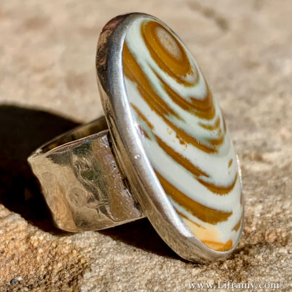 Shop Liframy Earths Treasures Owyhee Jasper Keeper Ring Statment jewlery handmade one of a kind Jewelry Hand forged by Amy Whitten in yhe USA - Shop Liframy - Owyhee Jasper Ring