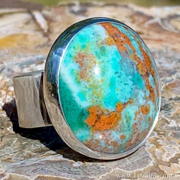 Liframy - Sterling silver opal wood ring