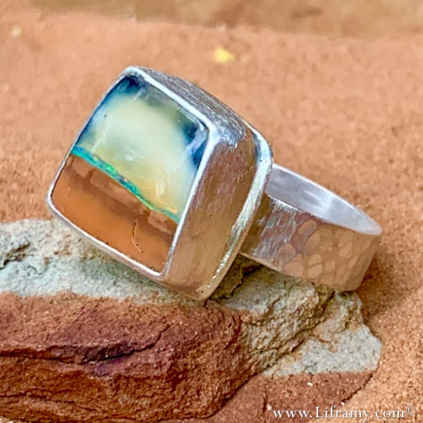 Island in the Sky Boulder Opal stone Ring by Liframy