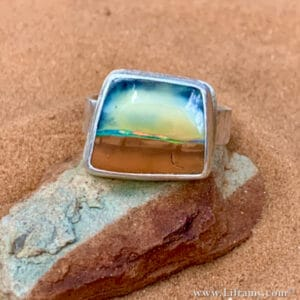Liframy - Island in the Sky Boulder Opal stone Ring hand forged by Amy Whitten