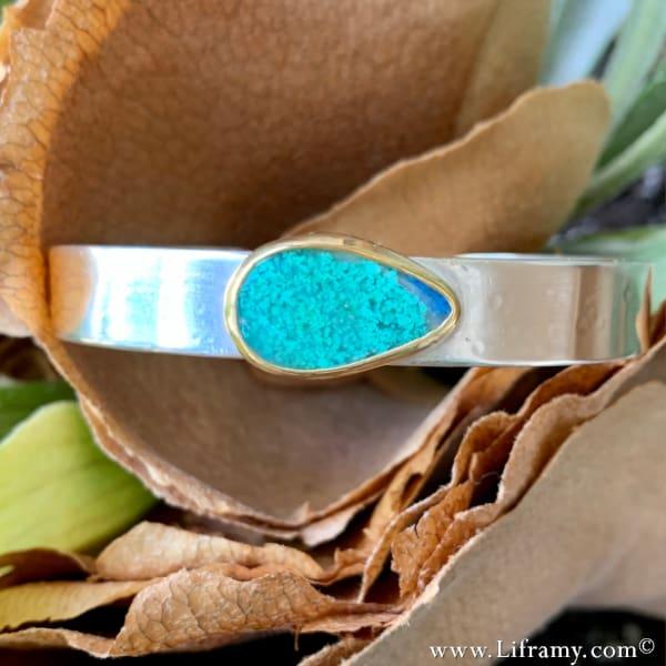 Sky-blue Daydream Chrysocolla Azurite Cuff by the Liframy Studio in Evergreen Colorado