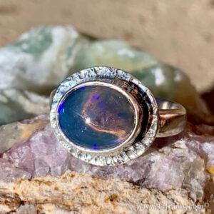 """Lightning ridge opal Statement jewelry ring by Amy """"Liframy"""" Whitten"""
