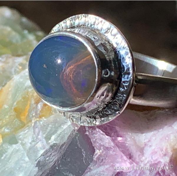 Lightning ridge opal Statement jewelry ring