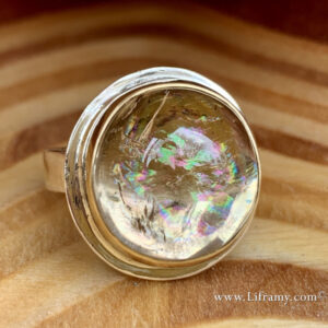 Shop Liframy - Rainbow Quartz 18k bezel sterling silver band ring One of a kind hand forged statement jewelry by Amy Whitten in the Rocky Mountains of the USA