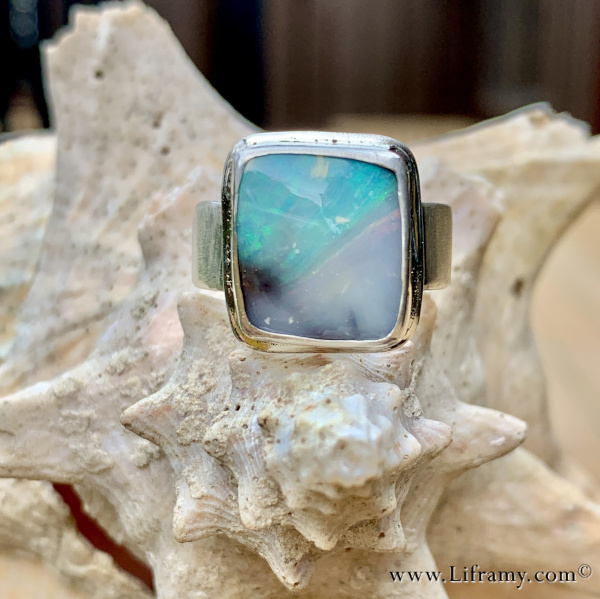 Shop Liframy - Picture Boulder Opal Ring One of a kind hand forged statement jewelry by Amy Whitten in the Rocky Mountains of the USA