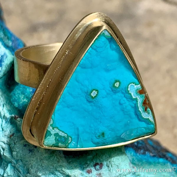 Shop Liframy - Tropical Gem Silica 18k Gold Ring One of a kind hand forged statement jewelry by Amy Whitten in the Rocky Mountains of the USA