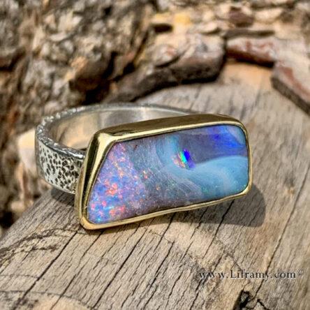 Shop Liframy – Australian Boulder Opal Gold & Sterling Ring  size 6.5