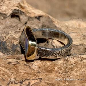 IMG 4862p 300x300 - Shop Liframy - Australian Boulder Opal Gold & Sterling Ring  size 6.5