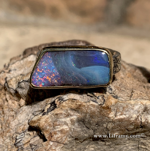 Shop Liframy - Amazing Boulder opal Gold & Silver Ring one of a kind hand forged statement jewelry by Amy Whitten in the Rocky Mountains of the USA