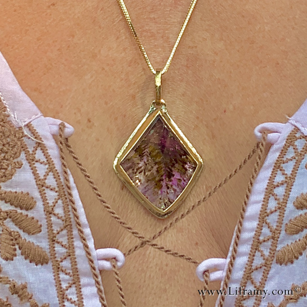 Shop Liframy - Super Seven Crystal Pendant One of a kind hand forged statement jewelry by Amy Whitten in the Rocky Mountains of the USA
