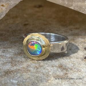IMG 6152c 300x300 - Shop Liframy - Black Opal Rainow Gold Sterling Ring Ring