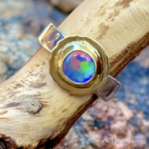 Shop Liframy - Black Opal Rainbow Ring size 6.25 One of a kind hand forged statement jewelry by Amy Whitten in the Rocky Mountains of the USA
