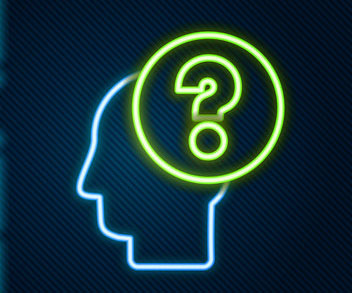 neon head with question mark