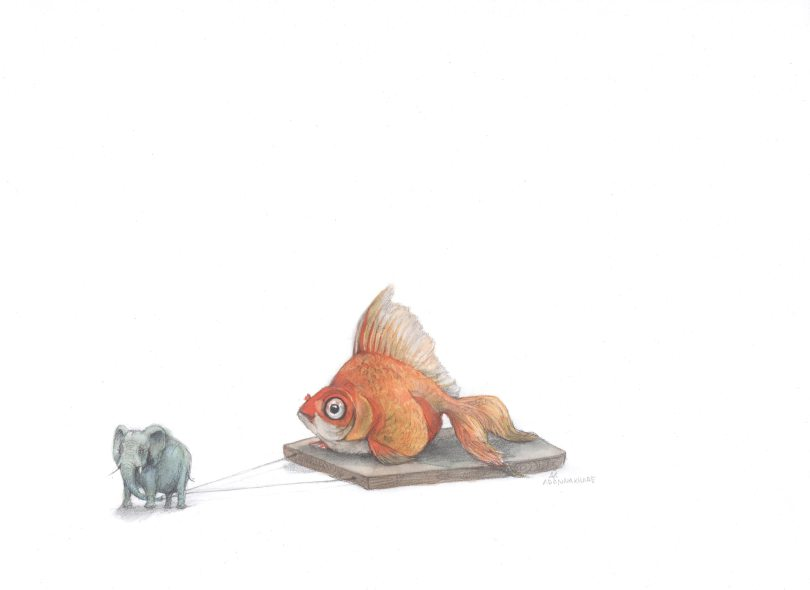 2-25-16Goldfish-and-elephant-water-color