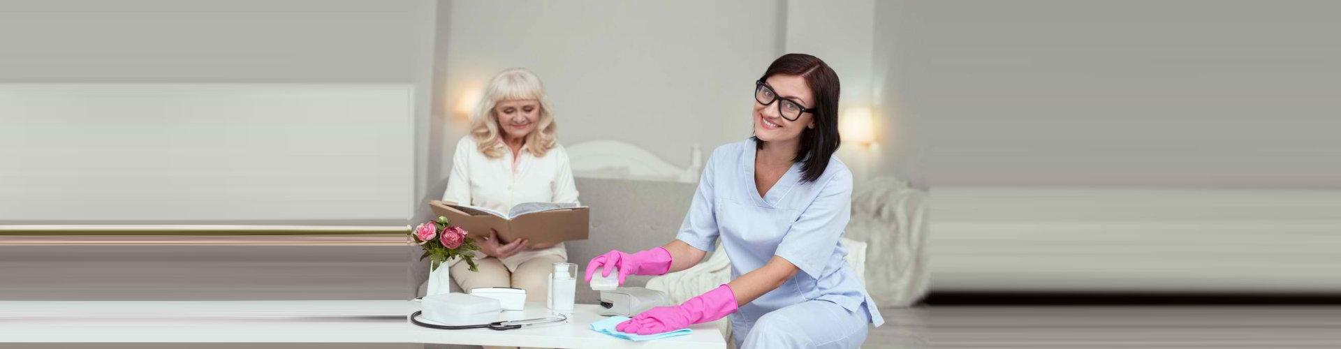caregiver doing household chore