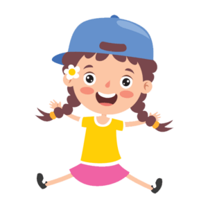 Cartoon girl with pigtails and hat