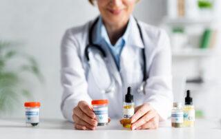 doctor with CBD and medical marijuana