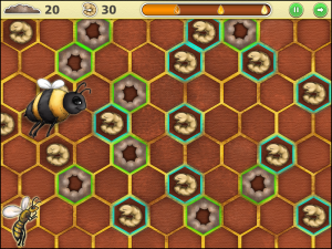 Screen capture from The Larva Game, a mini game from The Lost Bee