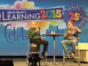 Karl Kapp answering questions about gamification from Elliot Masie in his keynote at Learning2015.