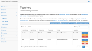 The office can see each teacher's schedule at a glance.