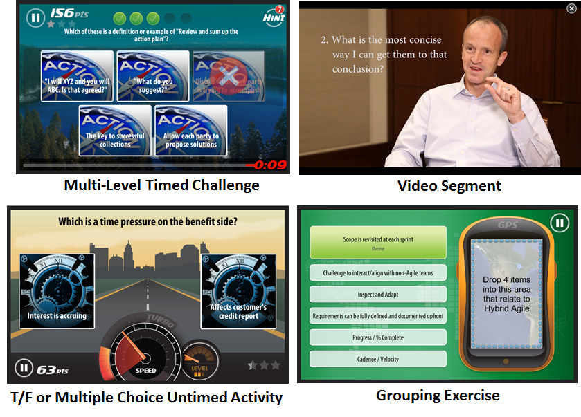 A sample of the mLevel suite of Learning Activities.