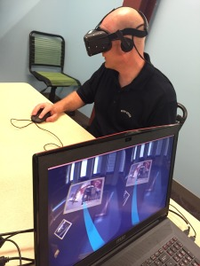 Karl Kapp venturing into a VR learning experience.
