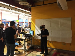 Walking around and taking action in a VR learning environment.
