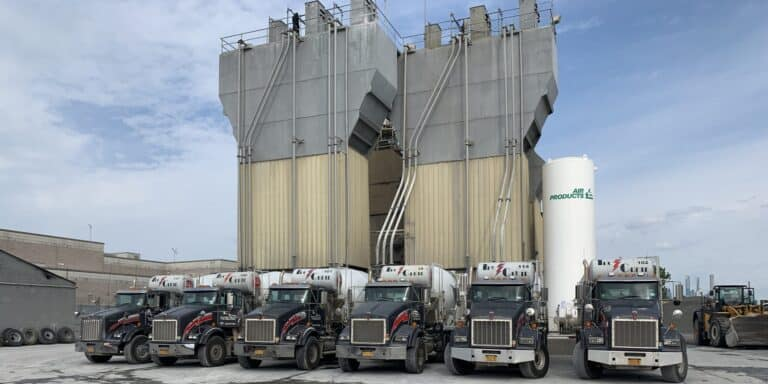 Plant with trucks line-up